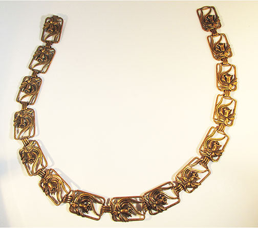 Vintage 1940s Striking Art Nouveau Style Brass Floral Link Belt