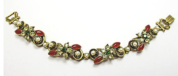 Florenza Vintage Jewelry 1950s Floral Diamante and Pearl Bracelet - Front