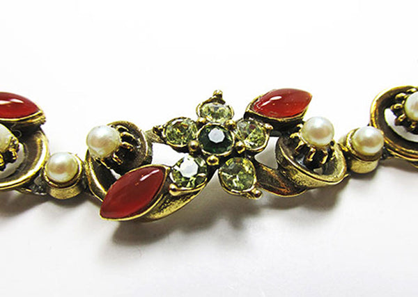 Florenza Vintage Jewelry 1950s Floral Diamante and Pearl Bracelet - Close Up