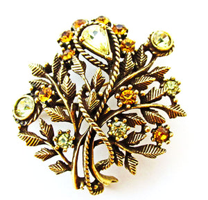 Spectacular Signed Coro Vintage 1950s Mid-Century Floral Bouquet Pin