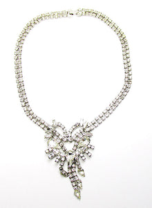 1950s Vintage Costume Jewelry Clear Diamante Avant-Garde Necklace  - Front