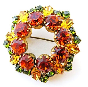 Austria Vintage 1950s Stunning Mid-Century Autumn Colors Circle Pin