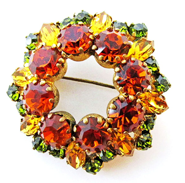 Austria 1950s Vintage Jewelry Fall Colors Diamante Circle Pin - Front