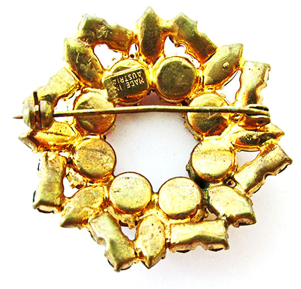 Austria 1950s Vintage Jewelry Fall Colors Diamante Circle Pin - Back