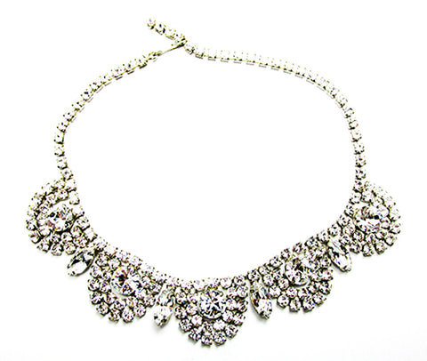Vintage 1950s Exquisite Mid-Century Clear Diamante Glamour Necklace - Front