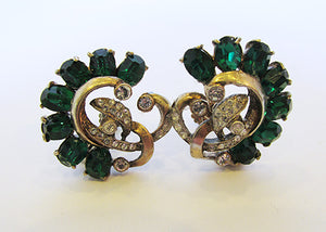 Vintage1940s Striking Vermeil Sterling Rhinestone Floral Earrings