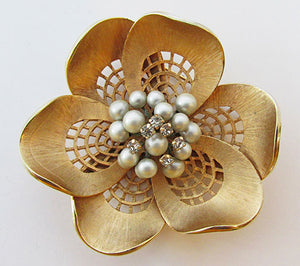 Vendome Vintage 1950s Mid Century Bold Floral Pin