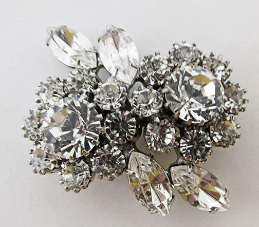 Vintage Mid Century 1950s Eye-Catching Rhinestone Floral Bouquet Pin