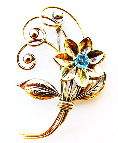 Harry Iskin 1940 Vintage Jewelry Gold Filled Diamante Floral Spray Pin - Front