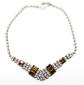 1950s Vintage Jewelry Gorgeous Geometric Topaz Diamante Necklace - Front