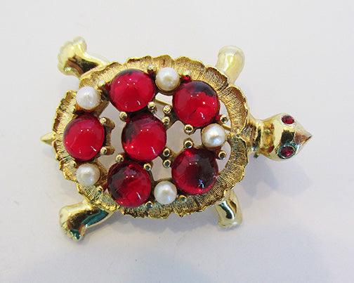 Sarah Coventry Vintage 1950s Whimsical Ruby Red and Pearl Turtle Pin