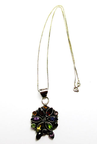 Vintage 1980s Contemporary Style Gemstone and Sterling Floral Pendant - Front