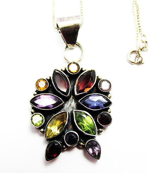 Vintage 1980s Contemporary Style Gemstone and Sterling Floral Pendant - Close Up