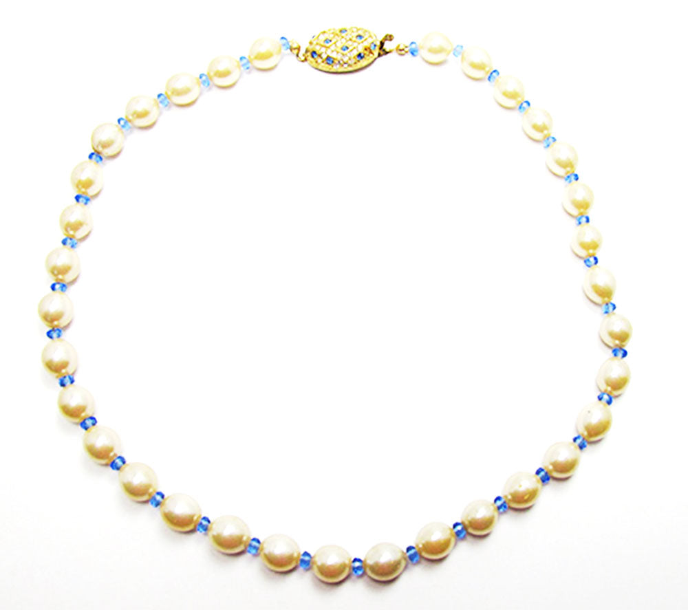 Vintage 1960s Costume Jewelry Pearl and Sapphire Diamante Necklace - Front