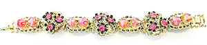 Striking Vintage Jewelry 1950s Diamante and Art Bead Floral Bracelet - Front