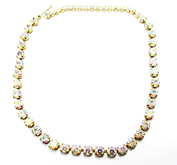 Vintage 1950 Jewelry Striking Mid-Century Minimalist Diamante Necklace - Front
