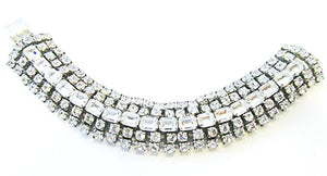 Vintage 1950 Jewelry Exquisite Mid-Century Diamante Statement Bracelet - Front