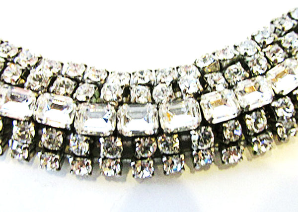 Vintage 1950 Jewelry Exquisite Mid-Century Diamante Statement Bracelet - Close Up