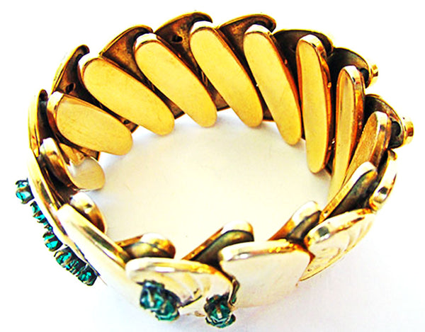 Bugbee & Niles Vintage 1930s Emerald Diamante Expandable Bracelet - Inner Circumference
