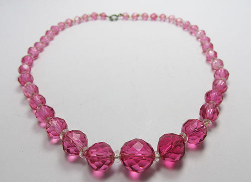 Vintage 1940s Gorgeous Pink Crystal Necklace