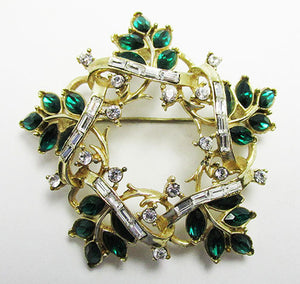 Corocraft Pegasus Vintage Mid Century Emerald Wreath Pin
