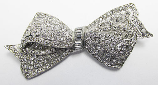 Vintage 1930s Extraordinary Clear Rhinestone Bow Pin