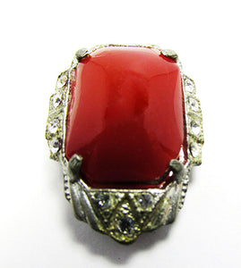 Vintage Jewelry 1930s Eye-Catching Art Deco Carnelian Dress Clip - Front