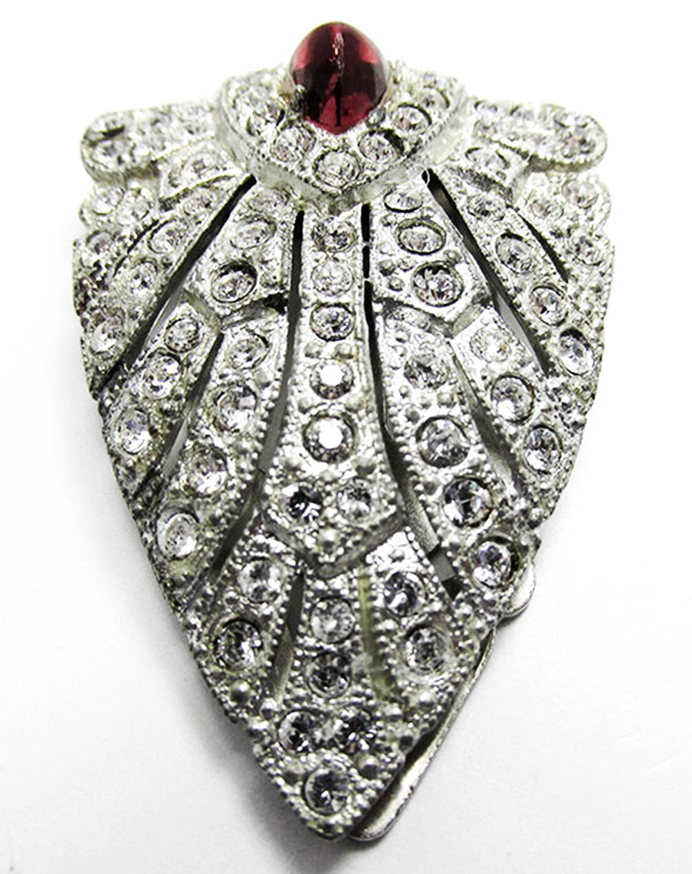 1930s Vintage Costume Jewelry Dramatic Art Deco Diamante Dress Clip - Front