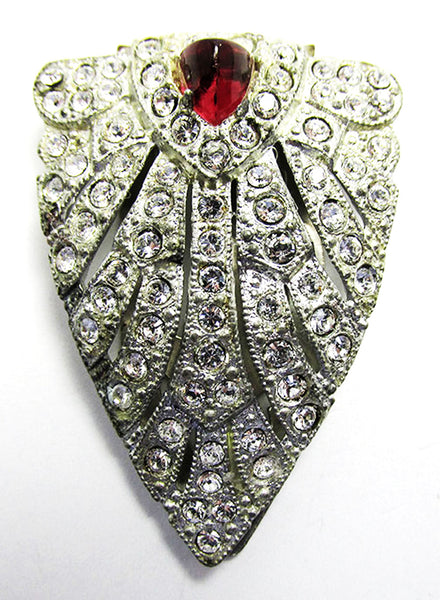 1930s Vintage Costume Jewelry Dramatic Art Deco Diamante Dress Clip - Close Up