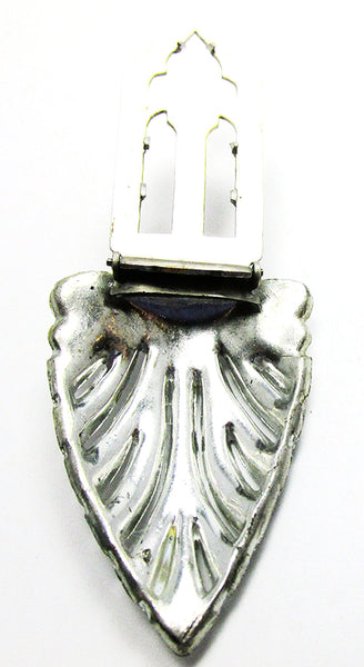 1930s Vintage Costume Jewelry Dramatic Art Deco Diamante Dress Clip - Back