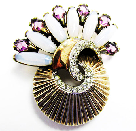 Boucher Vintage 1940s Jewelry Magnificent Vermeil Diamante Fur Clip - Front