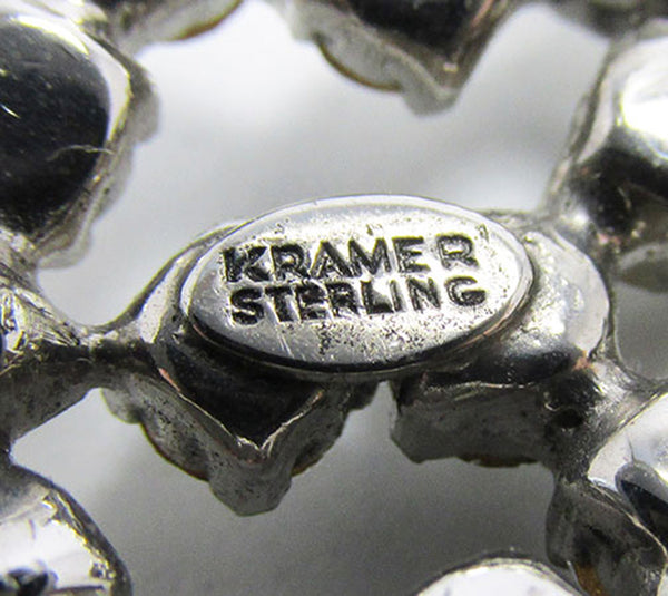 Kramer Vintage Jewelry Rare 1940s Sterling Diamante Duette Pin Signature