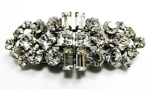 Vintage 1930s Jewelry Extraordinary Art Deco Clear Diamante Duette - Front