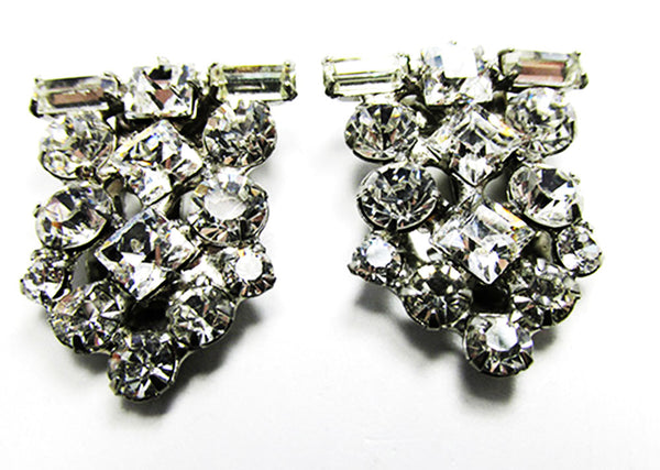 Vintage 1930s Jewelry Extraordinary Art Deco Clear Diamante Duette - Clips