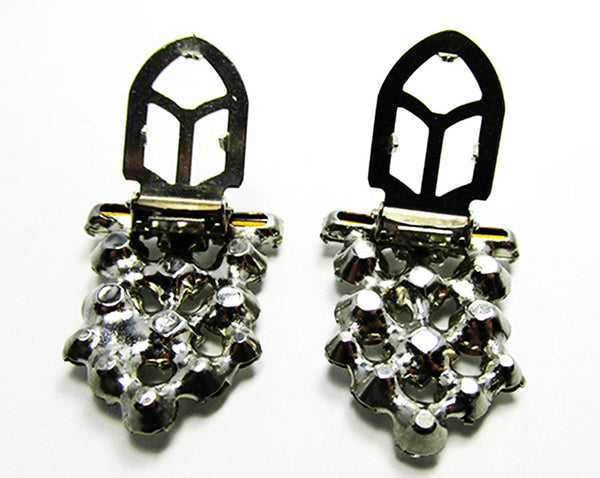 Vintage 1930s Jewelry Extraordinary Art Deco Clear Diamante Duette - Clip Backs