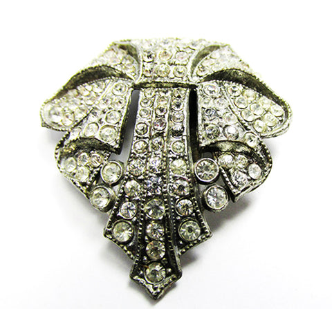 Vintage Retro 1930s Distinctive Art Deco Rhinestone Dress Clip