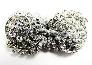 1930s Vintage Jewelry Dazzling Art Deco Clear Diamante Duette Pin - Front
