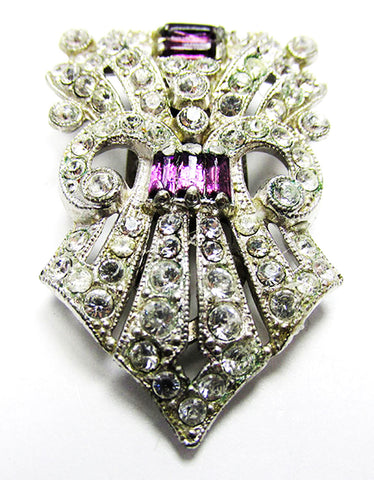 Vintage 1930s Costume Jewelry Art Deco Amethyst Diamante Dress Clip - Front