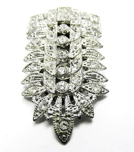 Vintage 1930s Jewelry Striking Art Deco Geometric Diamante Dress Clip - Front