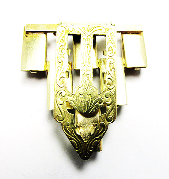 1930s Vintage Jewelry Stunning Art Deco Brass Diamante Dress Clip - Clip Mechanism