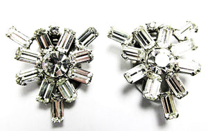 Vintage Jewelry 1930s Gorgeous Pair of Art Deco Diamante Dress Clips - Front