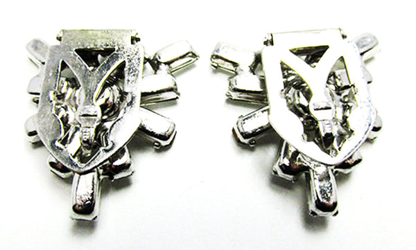 Vintage Jewelry 1930s Gorgeous Pair of Art Deco Diamante Dress Clips - Back