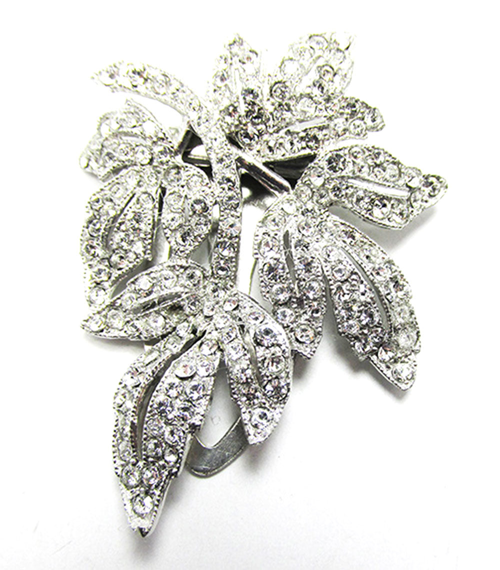 Vintage Jewelry Stunning 1930s Art Deco Diamante Floral Dress Clip - Front