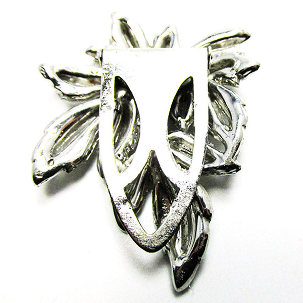 Vintage Jewelry Stunning 1930s Art Deco Diamante Floral Dress Clip - Back