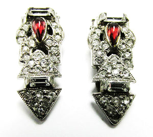 Vintage 1930s Jewelry Exquisite Art Deco Ruby Diamante Dress Clips - Front