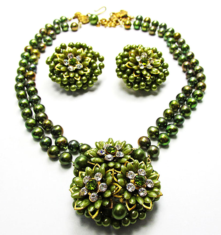 Vintage 1950s Unique Olive Pearl and Rhinestone Necklace and Earrings