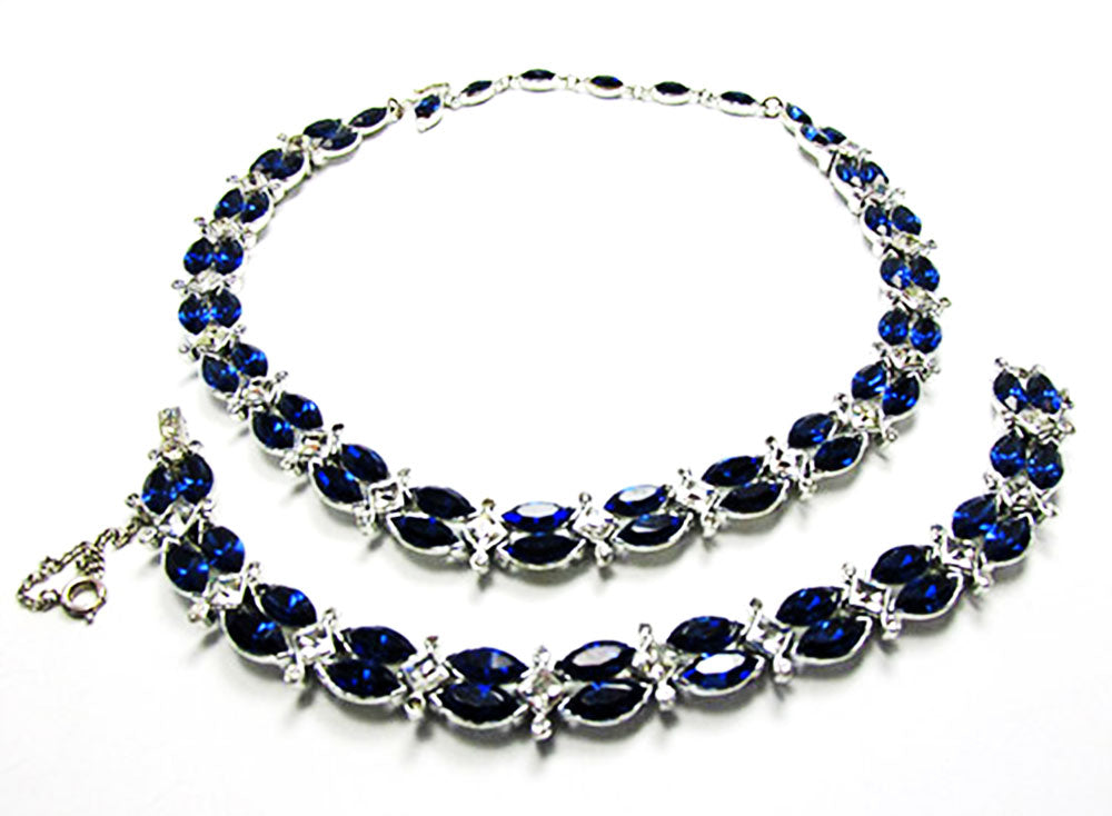 Kramer 1950s Vintage Jewelry Sapphire Diamante Necklace and Bracelet - Front