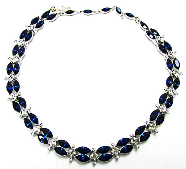 Kramer 1950s Vintage Jewelry Sapphire Diamante Necklace and Bracelet - Necklace