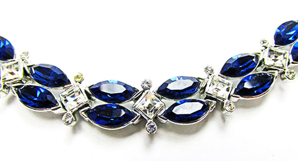 Kramer 1950s Vintage Jewelry Sapphire Diamante Necklace and Bracelet - Close Up