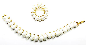 Crown Trifari Vintage 1950s Designer Jewelry Pearl Bracelet and Pin - Front